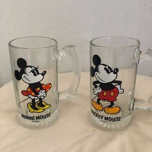Vintage Mickey and Minnie Mouse mugs